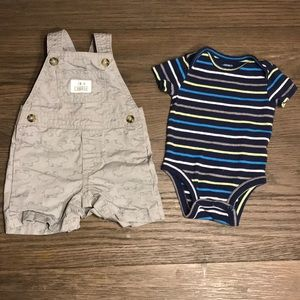 Carter's Infant Overalls w/Striped Onesie- 3Mo